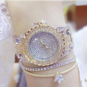 Image 3 - Женские наручные часы с кристаллами, полностью алмазные часы из нержавеющей стали