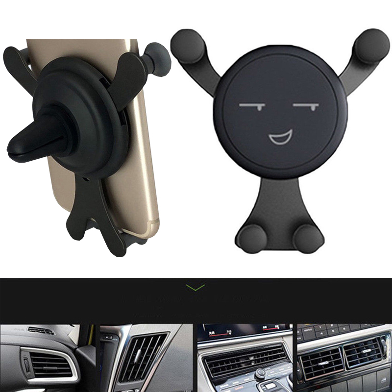 2019 New Universal Smiley Car Phone Holder Mobile Phone Car Air Vent Holder Car Accessories Outlet Smartphone Holder Phone Stand
