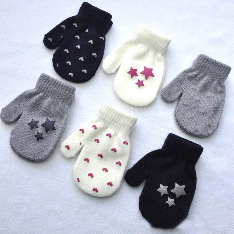 Winter Autumn Warm Gloves Kid Boy Girl Warmer Stars Printed Mittens Whole Covered Finger Gloves