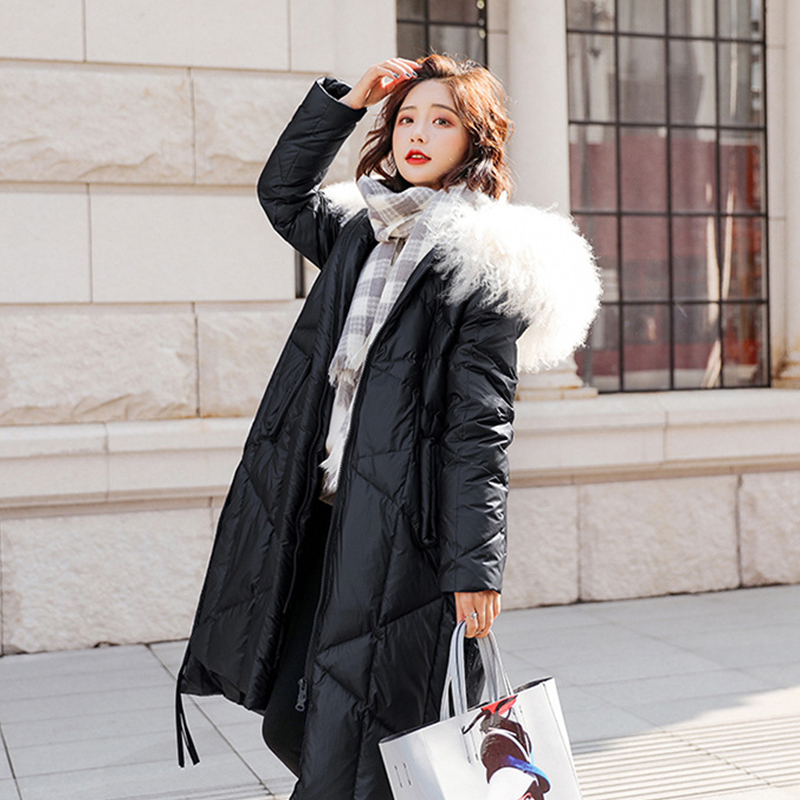 Winter Jacket Women 90% White Duck Down Coats Large Real Fur Collar Loose Parkas Outerwear Glossy Waterproof Jackets