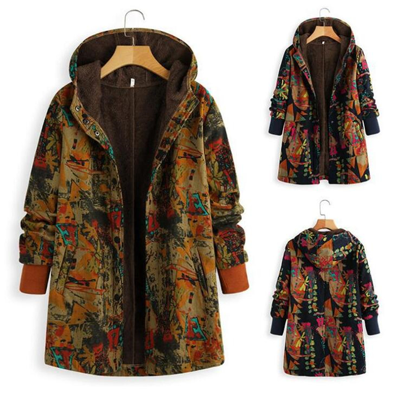 SZMALL Fashion Boho Print Hooded Coat Women Winter Warmer Full Sleeve Button Jackets Tops For Female PLUS Velvet Outwear Clothes