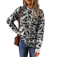 Осенне зимний новый женский свитер с капюшоном леопардовым принтом