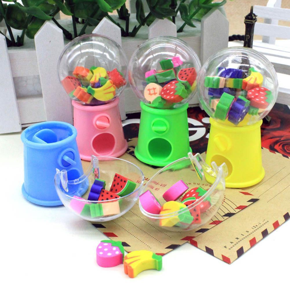 2020 Kawaii Cartoon Mini Gashapon Machine Fruit Pencil Eraser Prize For Office Writing Erasers Kids Drawingeraser Rubber B3T9
