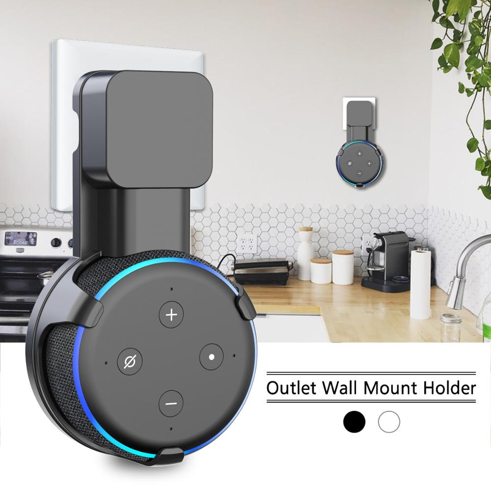 Outlet Wall Mount Stand Hanger For Amazon Alexa Echo Dot 3rd Gen Work With Amazon Echo Dot 3 , Holder Case Plug In Bedroom