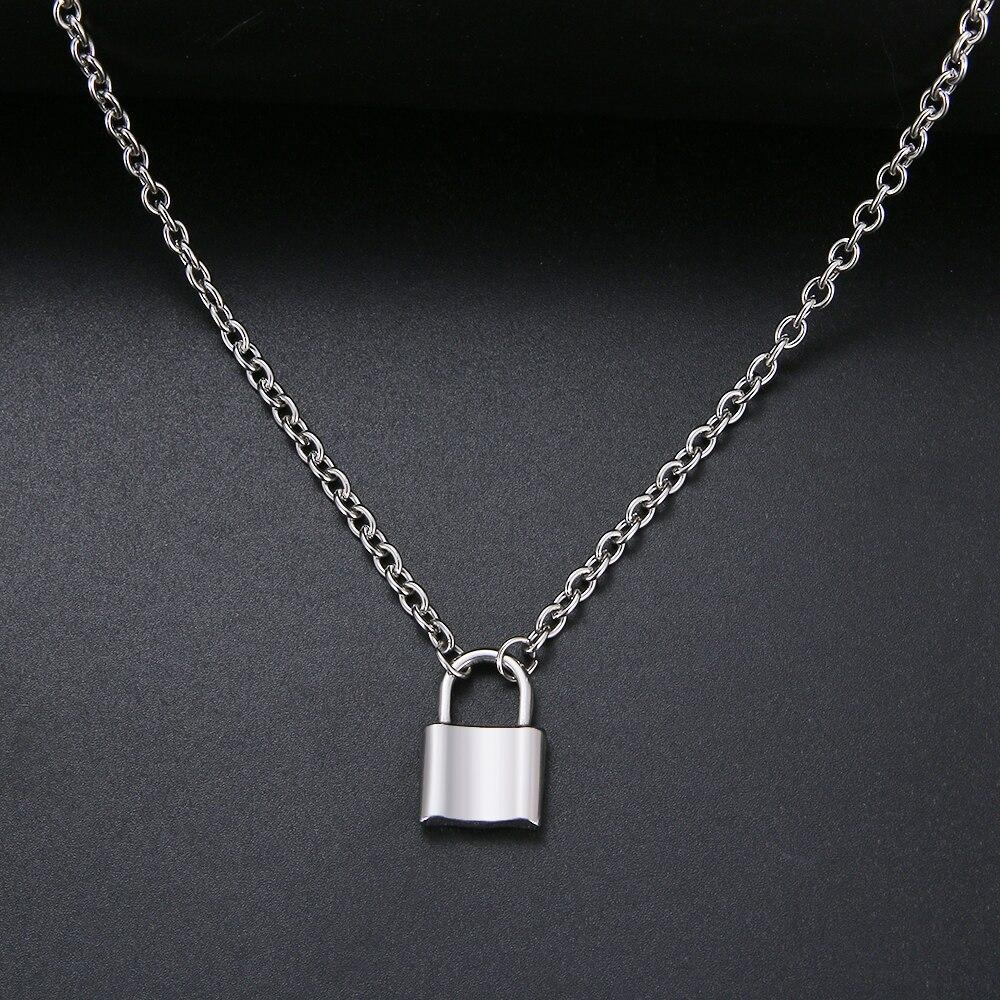 Cacana cadeado pingente colares, colar de aço inoxidável dourado e prata para mulheres