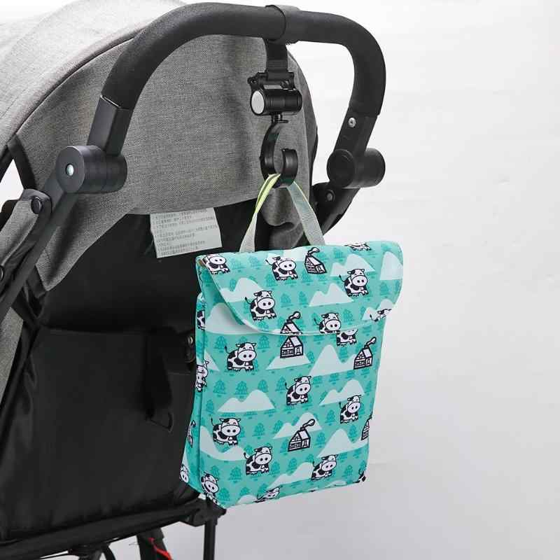 Mini Waterproof Cute Print Stroller Nappy Bag Nylon Webbing Comfortable and Durable Washable Travel Diaper Bags Handy