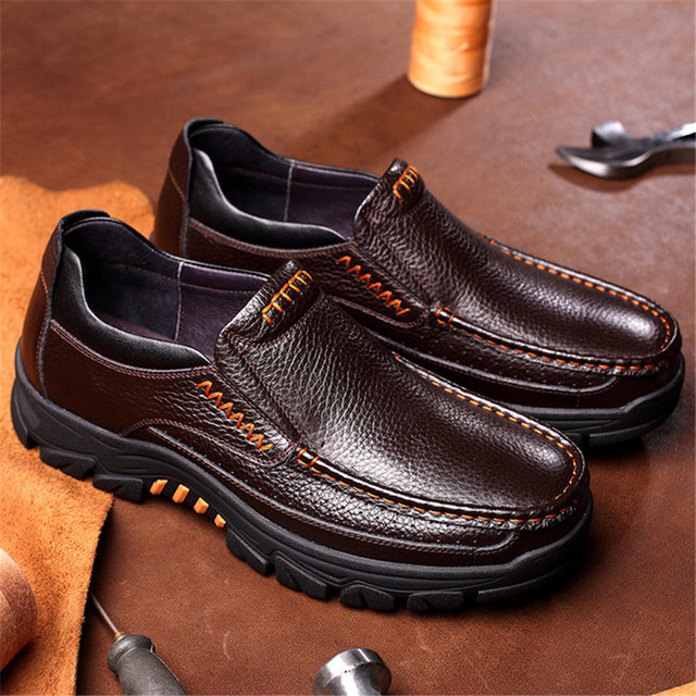 Men's Genuine Leather High Grip Shoes 8