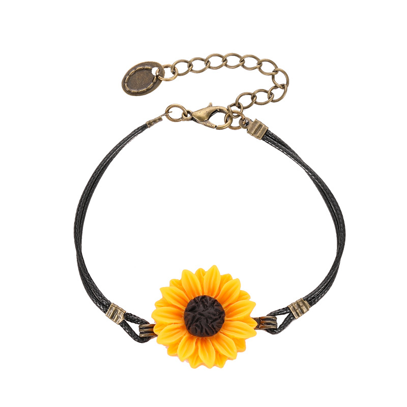 2020 New Vintage Sunflower Bracelet Handmade PU Leather Rope Quote Wish Bracelet Sister Love Friendship Bracelets For Women Gift image