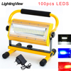 100 واط Refletor LED إضاءة خارجية كشاف ضوء مصباح الكاشف COB المصابيح الأضواء مصباح الحديقة مع بطارية 6x18650 وشاحن