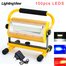 Lámpara LED de 100W para exteriores reflector de mazorca, foco para jardín con batería de 6x18650 y cargador