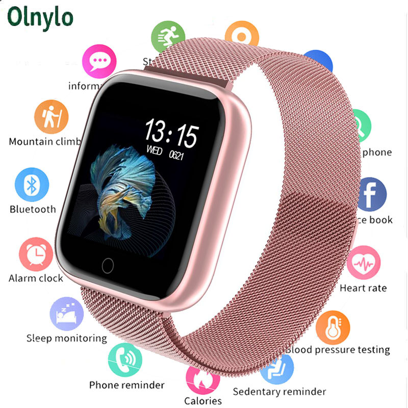 2019 Women Waterproof Smart Watch P70 P68 Bluetooth 4.0 Smartwatch For Apple IPhone xiaomi LG Heart Rate Monitor Fitness Tracker