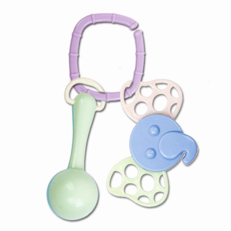 Three Pieces Set Boilable Children Toys Enhance Baby Sense Touch Cute Shape Infant Shake Bell Rattle Baby Teether