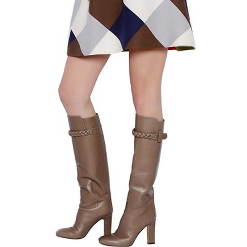 Arden Furtado Mode frauen Schuhe Winter Spitz Chunky Heels reine farbe Chunky Heels Leder Classics Reife Persönlichkeit