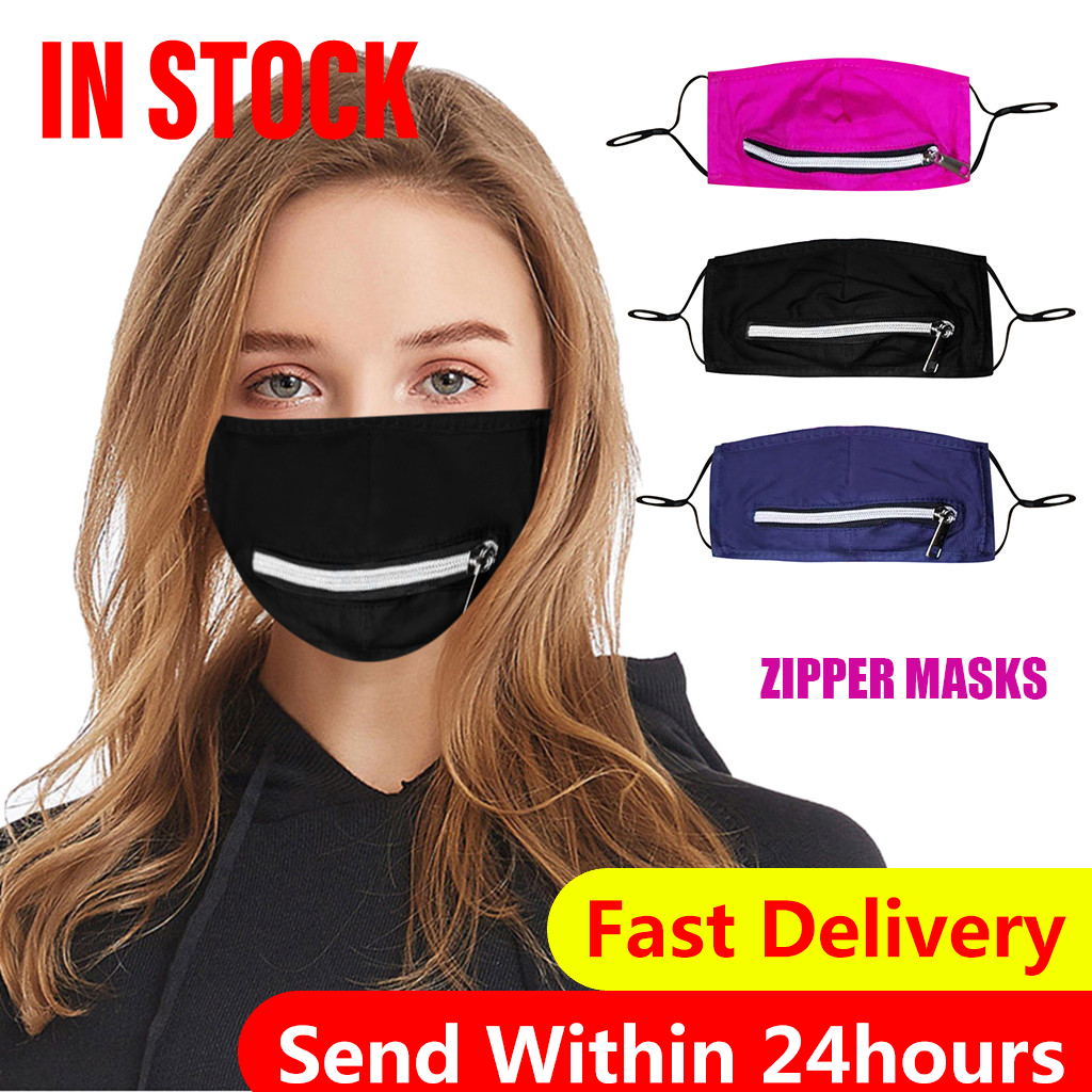 Adult Protect Zip Up Face Mask Dustproof Reusable Washable Adjustable mouth Mask Drinking Face cover with Zipper Mascarilla|Cycling Face Mask| - AliExpress