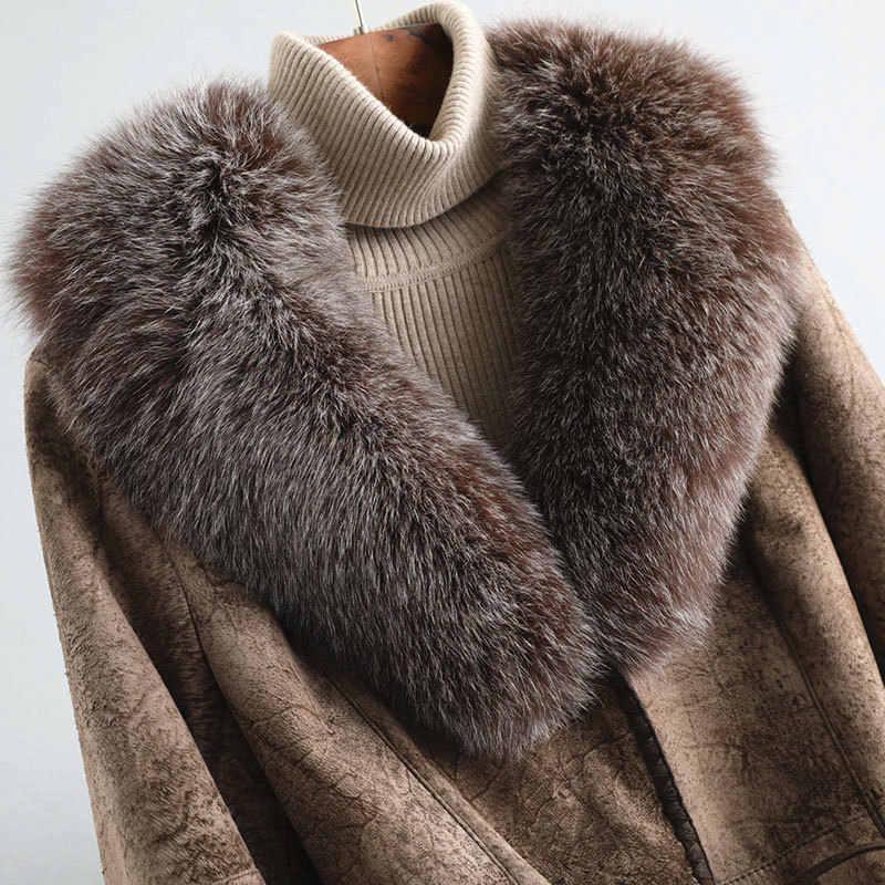 Face Double réel manteau de fourrure femme luxe lapin fourrure manteaux hiver manteau femmes renard col de fourrure véritable veste en cuir MY4256 s