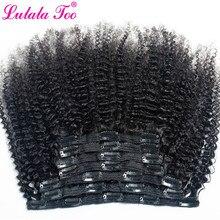 Afro cabelo encaracolado, clipe de extensão de cabelo humano 4b 4c brasileiro remy cor natural 7 pçs/set 120g para uma cabeça ninalatoo