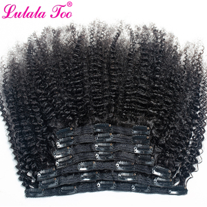 Afro Kinky Curly Clip In Human Hair Extensions 4B 4C Brazilian Remy Hair Natural Color 7Pcs/Set 120G For A Head Lulalatoo(China)