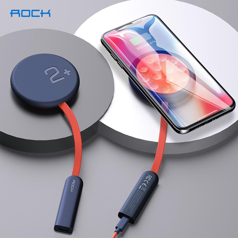 ROCK-cargador inalámbrico de doble cara con ventosa y luz indicadora, cargador Qi de 15W para iPhone SE XS 12 Pro