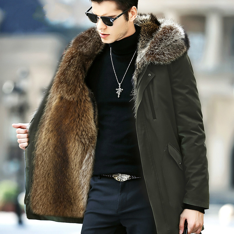 Real Fur Coat Men Parka Long Winter Jacket Natural Raccoon Fur Liner Warm Luxury Jackets Parkas Hombre 81716 KJ2442