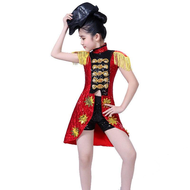 2PCS/SET Children Sequins Modern Jazz Dance Costumes Street Stage Dancewear Suit Modern Dress Girl Cheerleading Clothes