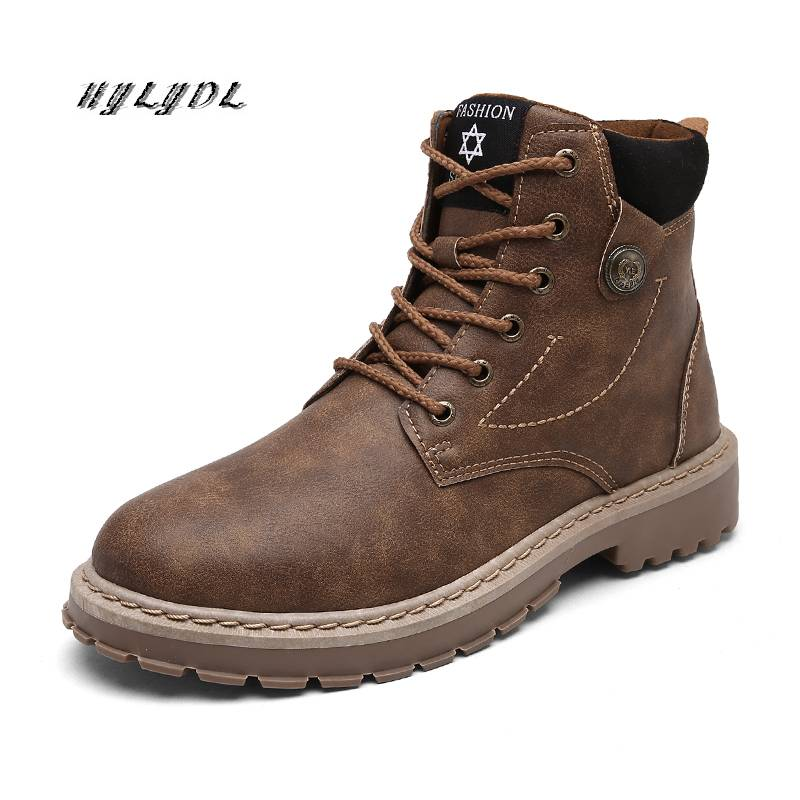Boots Men Autumn High Quality Causal Motorcycle Ankle Boots Winter Leather Lace up Round Top Fashion Work Shoes Botas de hombre