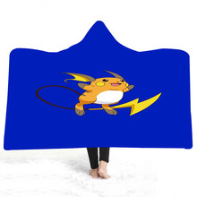 Wearable Cartoon Fur Blanket Pikachu 3D Print Coral Sherpa Fleece Hooded Plush Throw Blanket Japanese Anime Warm Blanket for Kid(China)