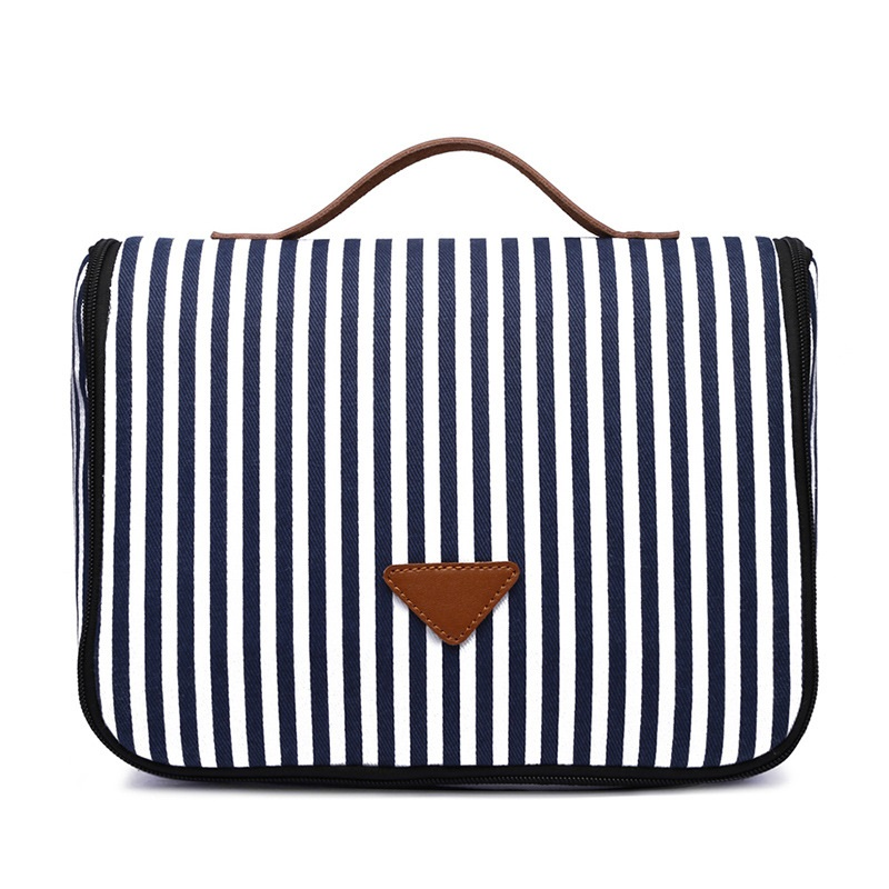 Blue Striped Canvas Makeup Bag Women Travel Bath Organizer For Cosmetics Pouch Womens Beauty Vanity Toilet Shower Toiletry Kit