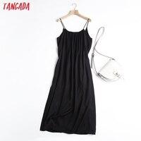 Tangada Women Oversized Long Dress High Quality Strap Sleeveless 2021 Fashion Lady Maxi Dresses Vestido 6D46 1