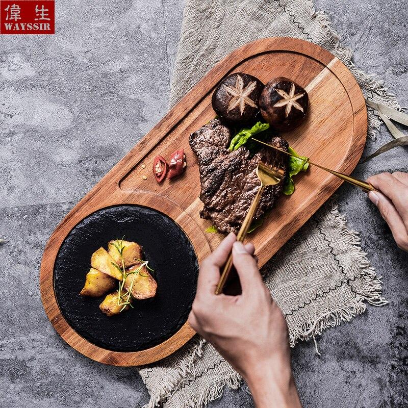 Plateau en bois d'acacia massif | Ardoise noire naturelle, pain à Sushi, assiette de collation, assiette de dîner ménagère, assiettes de charge