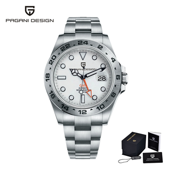 2021 PAGANI Design New Men's Automatic Mechanical Watches GMT Watch 42mm Sapphire Stainless Steel Waterproof Watch Reloj Hombre - Silver White, China