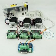 CNC נתב ערכת 3 ציר, 3pcs TB6560 1 ציר מנוע צעד נהג + אחד הבריחה לוח + 3pcs Nema23 270 Oz ב מנוע + אחד אספקת חשמל