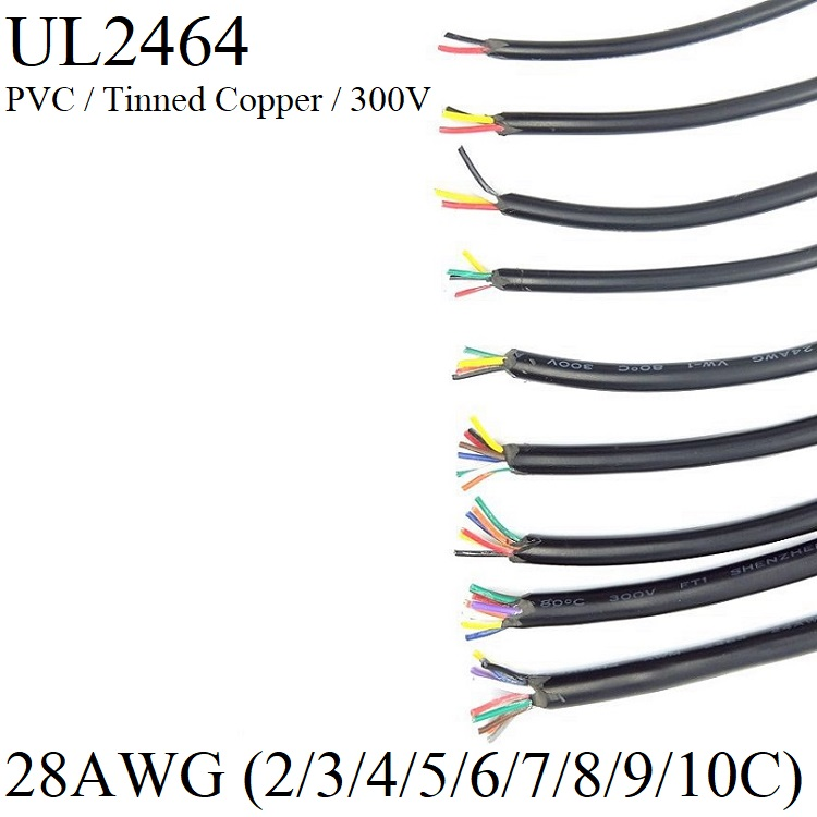 28AWG Sheath Wire Copper Signal Cable 2 3 4 5 6 7 8 9 10 Core Electric Amplifier Audio Lamp Insulated Power Control Line UL2464