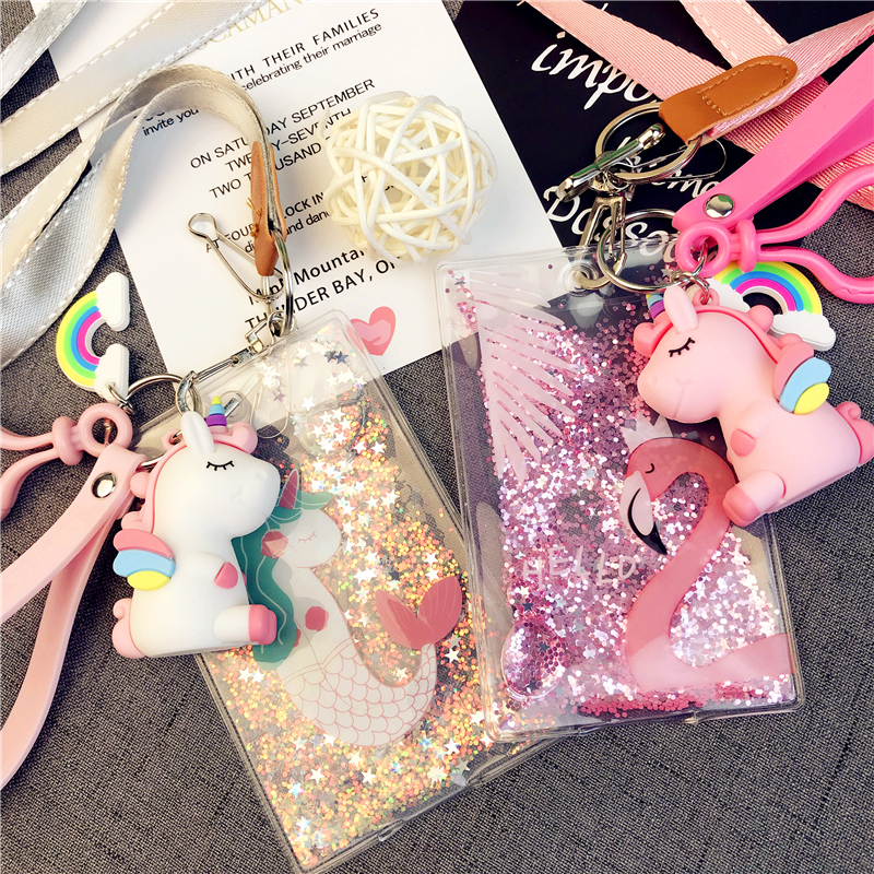2020 Sharkbang Bling Bling Kawaii Unicorn Flamingo Credit Card Holder Bus Bank Card Cover Case ID Card Holder Clip Stationery