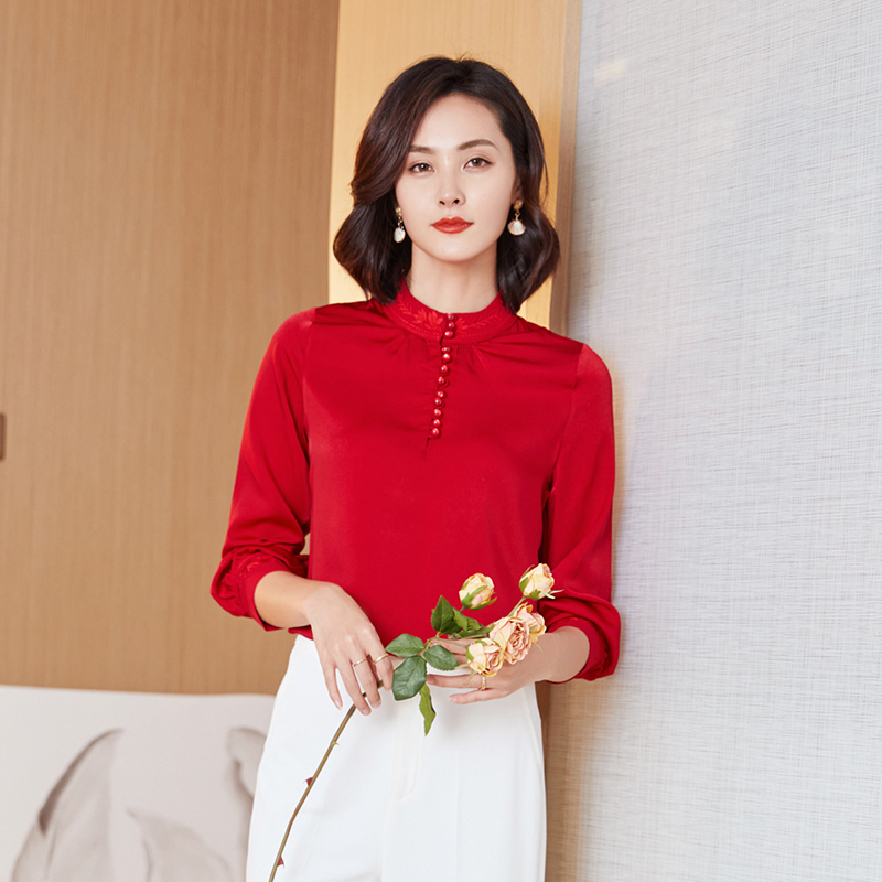 Silk Shirts Women Long Sleeve Shirt Women Embroidery Silk Blouses Office Lady Solid Shirt Tops Plus Size Elegant Woman Blouse