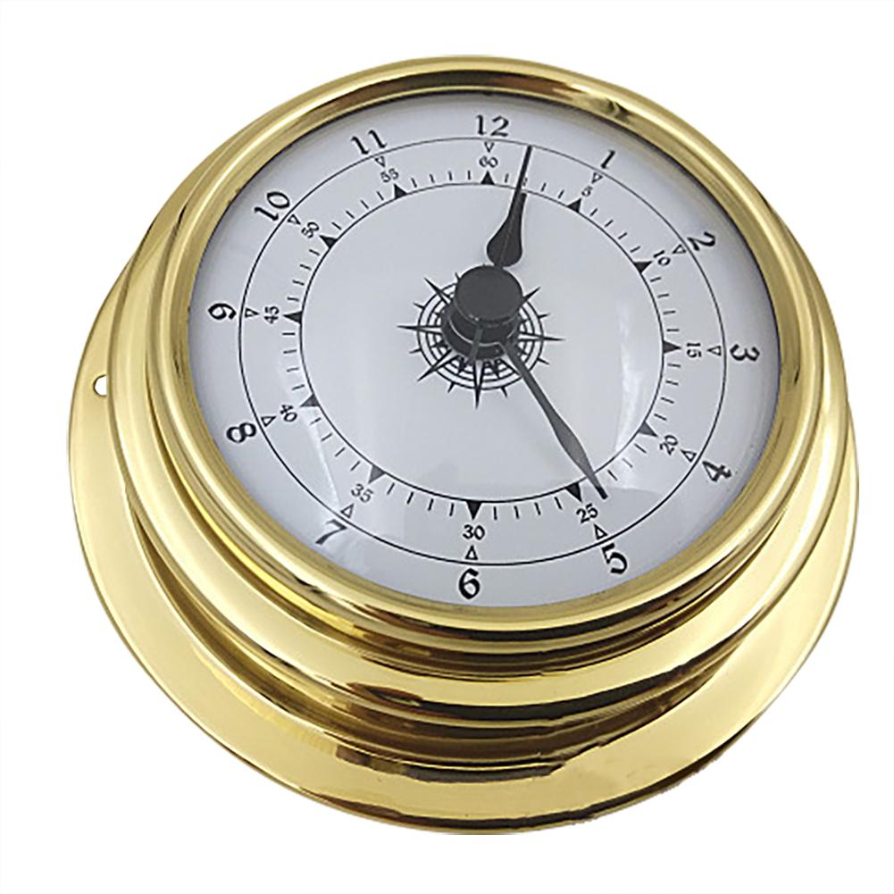 4PCS 98mm Copper Shell Zirconium Marine Barometer Thermometer Hygrometer Clock For Weather Station