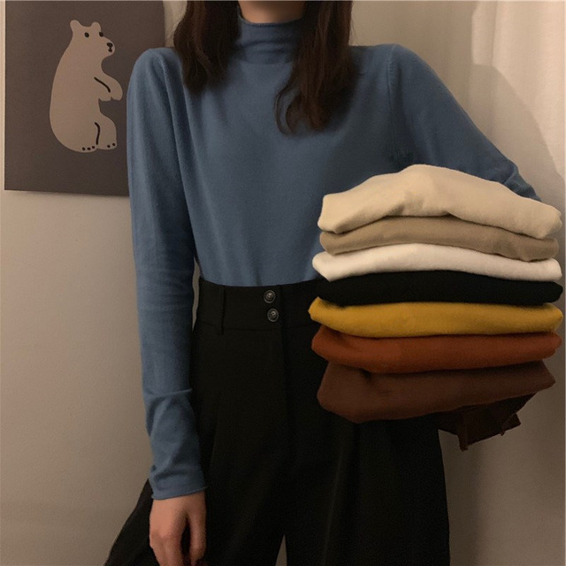 2021 autumn Black White solid Women Long Sleeve T-shirts half Turtleneck Female T-shirt Casual slim T shirt Bottoming Shirt top 1