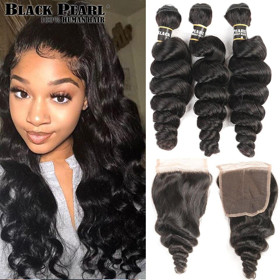 Blackpearl Malaysian Hair Bundles With Closure Non-Remy Human Hair 3 Bundles With Closure 1B# Loose Wave Bundles With Closure