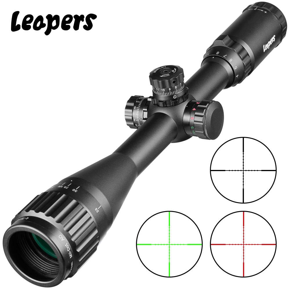LEAPERS 4-16X40 Riflescope Tactical Optical Rifle Scope Red Green And Blue Dot Sight Illuminated Retical Sight For Hunting Scope