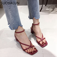 SUOJIALUN 2020 Ankle Strap Women Sandals Summer Fashion Narrow Band Dress