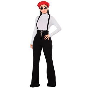 Image 2 - Echoine女性はハイウエスト大ラウンドバックルパンツジッパーフレア脚サスペンダースウェットパンツ女性のレトロなストリート女性