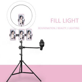 26cm 10inch LED Selfie lampa pierścieniowa ściemniania LED lampa pierścieniowa zdjęcie wideo aparat telefon światła ringlight na żywo YouTube wypełnić światło tanie i dobre opinie NoEnName_Null 3300-5600 k USB charge Beauty Face and skin White light Warm light Warm White light 6inch 10 inch 14 inch