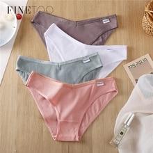 FINETOO V Waist Cotton Panties Women M-4XL Underpants Female Underwear Sexy Low-Rise Girl Briefs Comfort Panties Ladies Lingerie