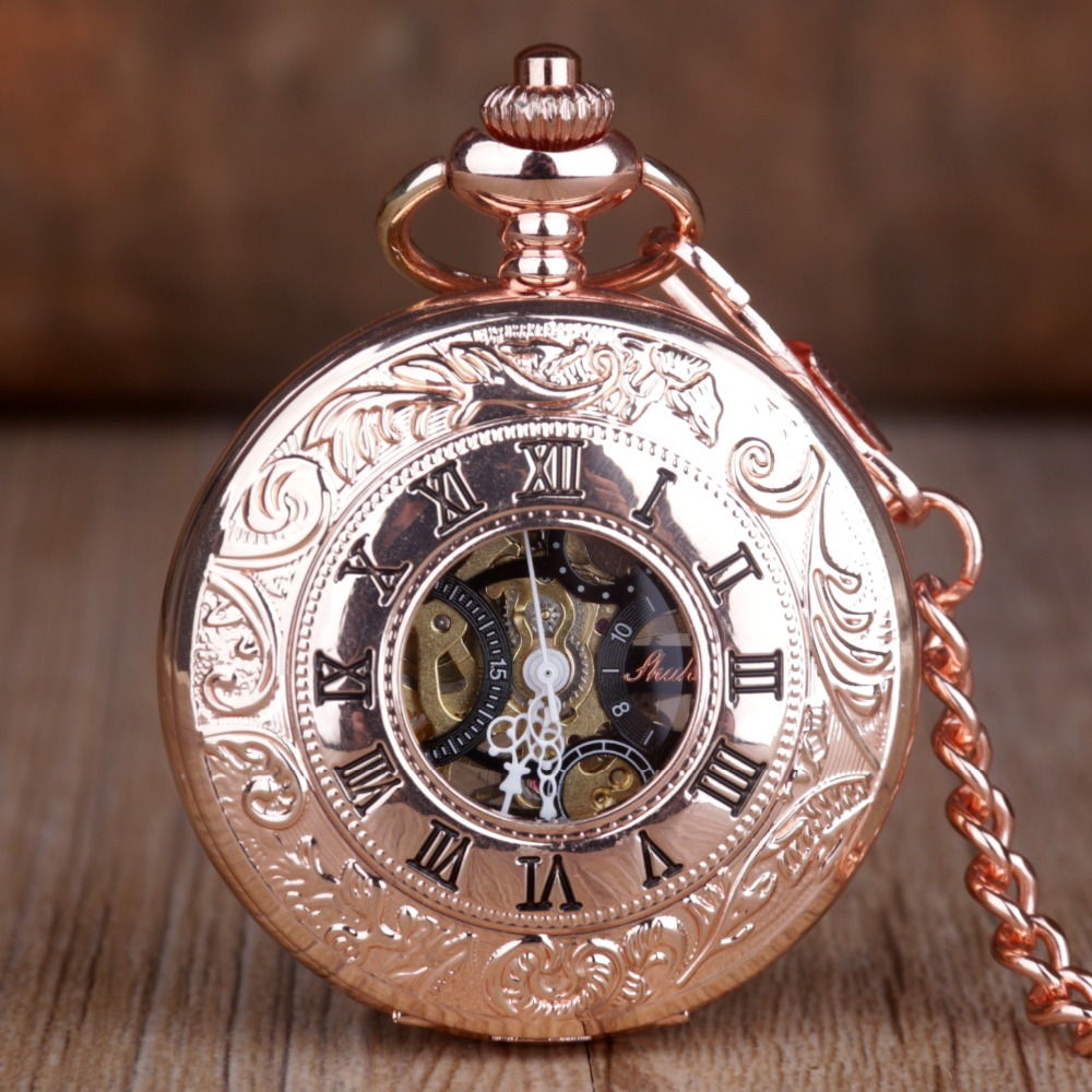 Vintage Roman Numeral Rose Gold Mechanical Pocket Watch Fashion Necklace Pendant Chain Luxury Mens Women Pocket & Fob Watch
