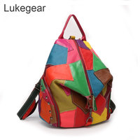 Multi Color Real Leather Handmade Backpack for Women Vintage Style Zipper Bags Black Leather Backbags