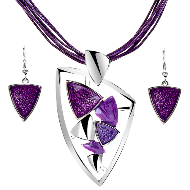 Fashion Jewelry Set with Leather Chain and  Enamel Gem