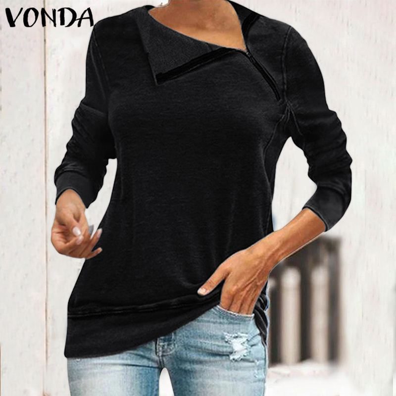 VONDA New 2020 Autumn Tops Women Vintage Long Sleeve Blouse Casual Loose Irregular Lapel Neck Shirts Party Tunic Plus Size S-5XL