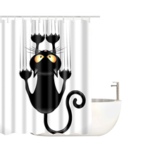 Funny Cat Series Shower Curtain Printed Polyester Waterproof Shower Curtain Various Styles Bath Curtain Bathroom Shower Curtain halloween cat print waterproof shower curtain