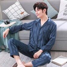 Лед шелк пижамы для мужчин весна лето пижамы тонкий дышащий салон комплект простой стиль полосатый эластичный пояс пижама налить роковой