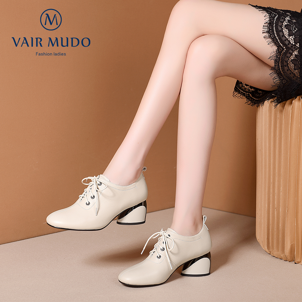 VAIR MUDO Top Quality Handmade Fashion Women shoes High Thick Heel Genuine Leather Casual Elegant Single Shoes Women D24L