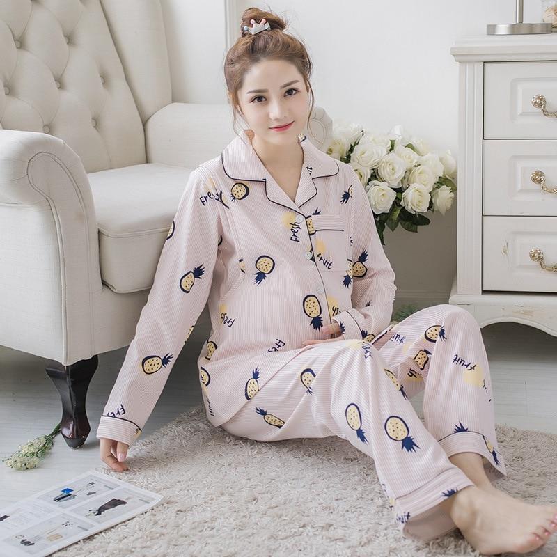 Pajamas Women Maternity Nightwear Plus Size Pijama For Pregnant Women Cotton Breastfeeding Sleepwear Loose Pidzama Damska 4XL